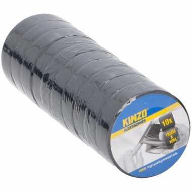 10x zwart isolatie tape 18 mm x 10 meter