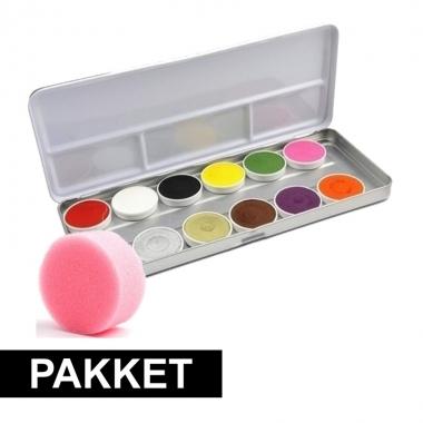12 kleurige schmink set met spons