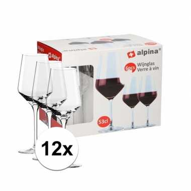 12 stuks wijnglazen voor rode wijn 530 ml