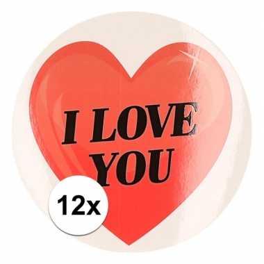 12 x cadeaustickers i love you hart 9 cm