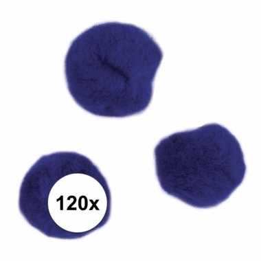 120x knutsel pompons15 mm donkerblauw