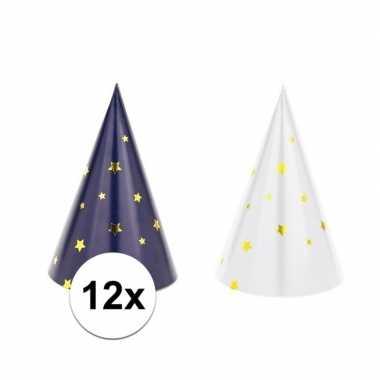 12x blauw/witte feesthoedjes oud en nieuw/nieuwjaar