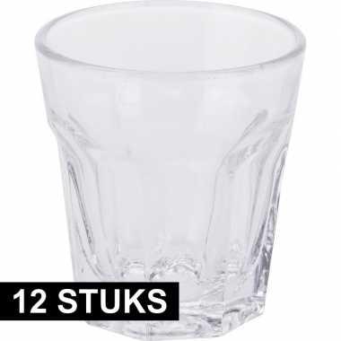 12x borrel of shotjes glazen van 40 ml