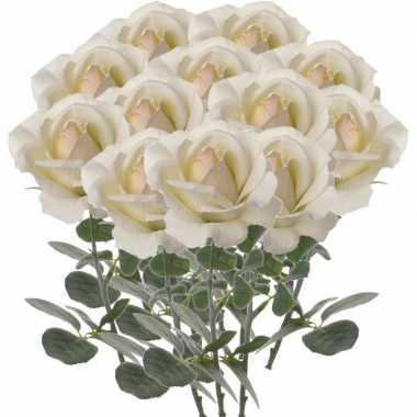 12x creme witte rozen/roos kunstbloemen 37 cm