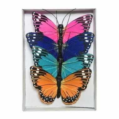 12x gekleurde vlinders op draad 9 cm decoratie