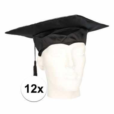 12x geslaagd hoedje / afstudeer baret voor volwassenen