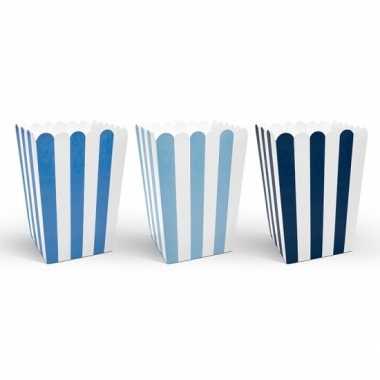12x gestreepte popcorn bakjes blauw