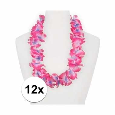 12x hawaii kransen roze/paars