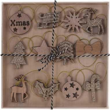 12x houten kerstversiering hangdecoraties bruin/gouden glitters