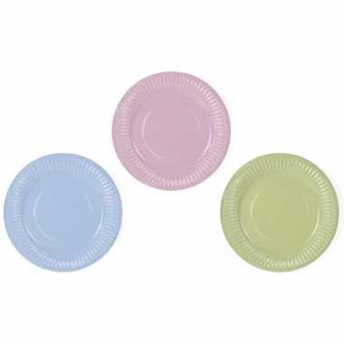 12x kartonnen wegwerp party bordjes in pastel kleuren