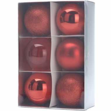 12x kerstboomdecoratie rode kerstballen 8 cm