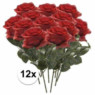 12x kunstbloem roos rood