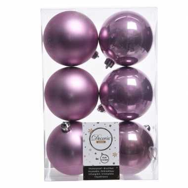 12x lila paarse kerstversiering kerstballen kunststof 8 cm