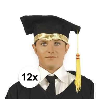 12x luxe afstudeerhoedje / geslaagd hoedje met gouden details
