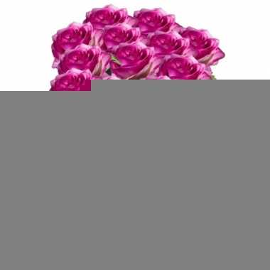12x paars/roze rozen simone kunstbloemen 45 cm