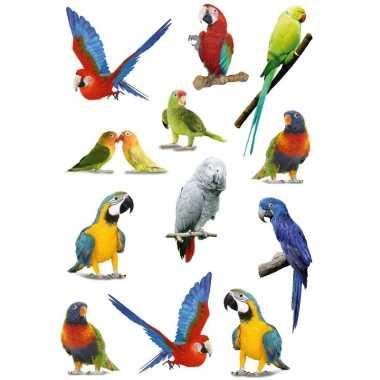 12x papegaaien vogels/dieren stickers 3d effect