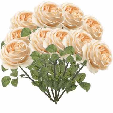 12x perzik roze rozen kunstbloemen 66 cm