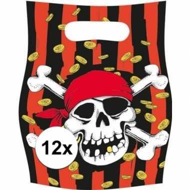 12x piraten themafeest feestzakjes/uitdeelzakjes jolly roger