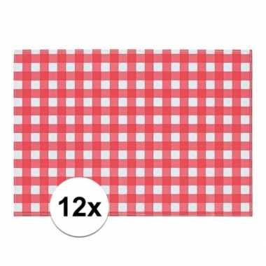 12x placemat rood/wit geblokt 43 x 30 cm