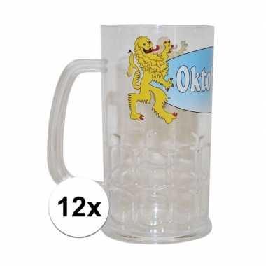 12x plastic oktoberfest bierpullen 14 cm