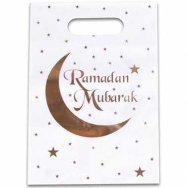 12x ramadan mubarak thema feestzakjes/uitdeelzakjes 23 x 17 cm