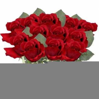 12x rode rozen kunstbloemen 30 cm