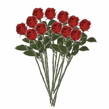12x rode rozen kunstbloemen 45 cm