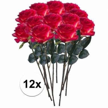 12x rood/gele rozen simone kunstbloemen 45 cm