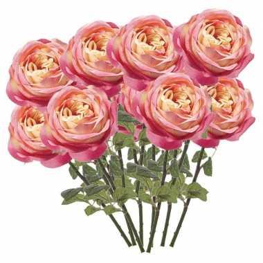 12x roze rozen kunstbloemen 66 cm