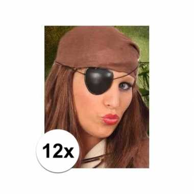 12x stuks piraten feest ooglapjes