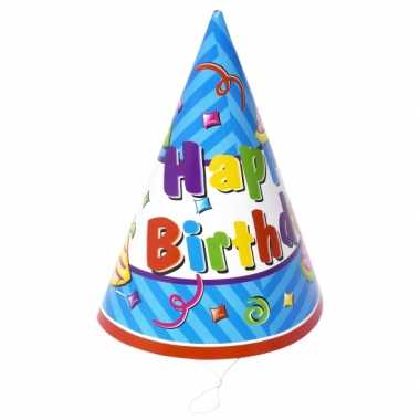 12x stuks voordelige happy birthday hoedjes