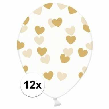 12x transparante ballonnen met hartjes goud