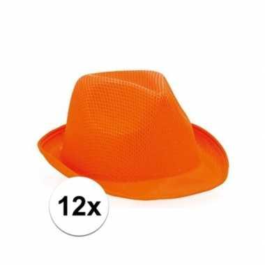 12x trilby thema hoedjes oranje