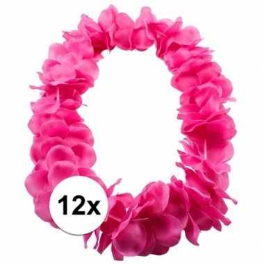 12x tropical krans neon roze