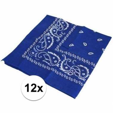 12x verkleedaccessoires blauwe bandana