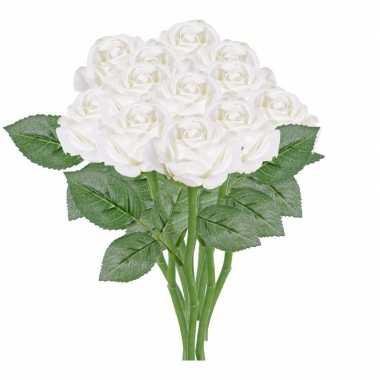 12x witte rozen/roos kunstbloemen 27 cm