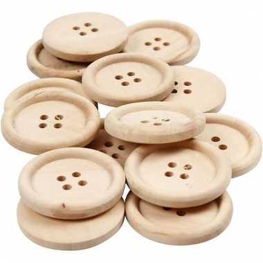 14 stuks houten knopen 30 mm