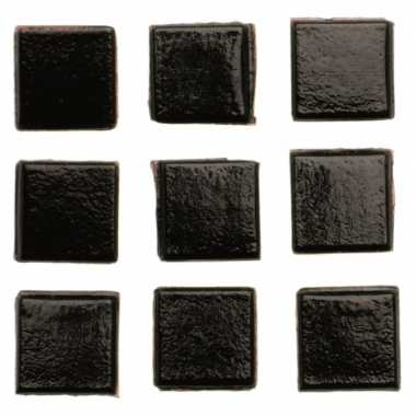 140 stuks vierkante mozaieksteentjes zwart 1 cm