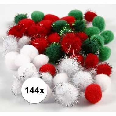 144x gekleurde knutsel pompons 15 20 mm trend