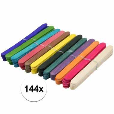 144x houten hobby stokjes gekleurd