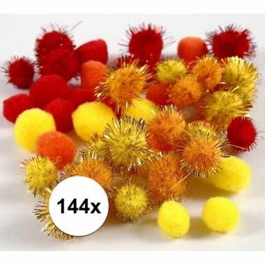 144x knutsel pompons 15-20 mm kleuren