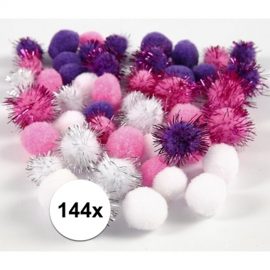144x knutsel pompons 15-20 mm wit/paars
