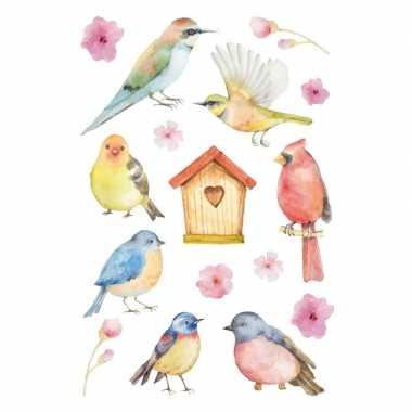 144x vogels en bloemen stickers