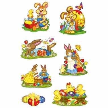 14x paashazen/konijnen stickers met glitters