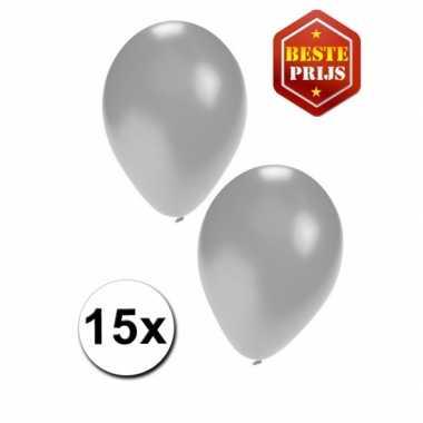 15 zilveren decoratie ballonnen
