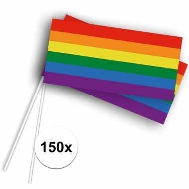 150x zwaaivlaggetjes/handvlaggetjes met regenboog