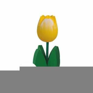 15x decoratie houten gele tulpen