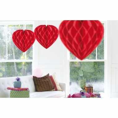 15x feestversiering decoratie hart rood 30 cm