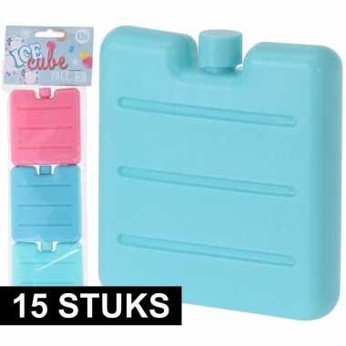 15x gekleurde mini koelelementen mint/roze/blauw
