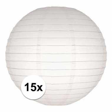 15x lampionnen 25 cm wit